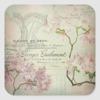 Vintage Chic French Script Shabby Flowers Corset Square Sticker