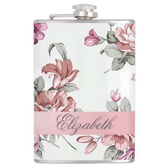 Vintage Chic Girly Flowers-Personalised Hip Flask