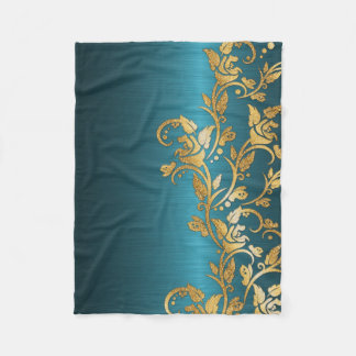 Vintage Chic Gold Aqua Floral Glitter Photo Print Fleece Blanket