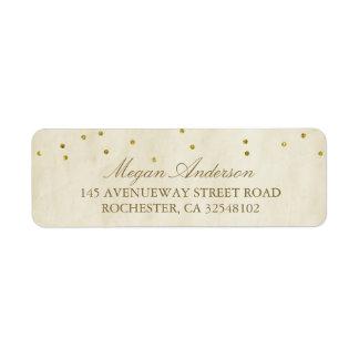 Vintage Chic Gold Confetti Wedding Return Address Label