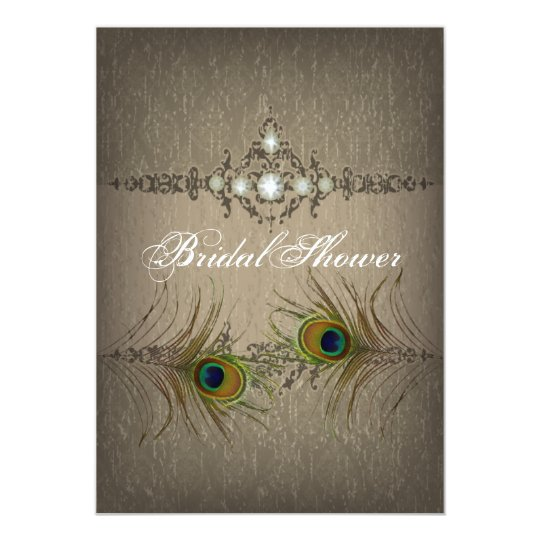 Vintage chic peacock Bridal Shower invitation
