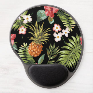 Vintage Chic Pinapple Tropical Hibiscus Floral Gel Mouse Mat