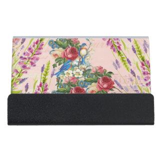 Vintage chic pink blue birds floral pattern desk business card holder
