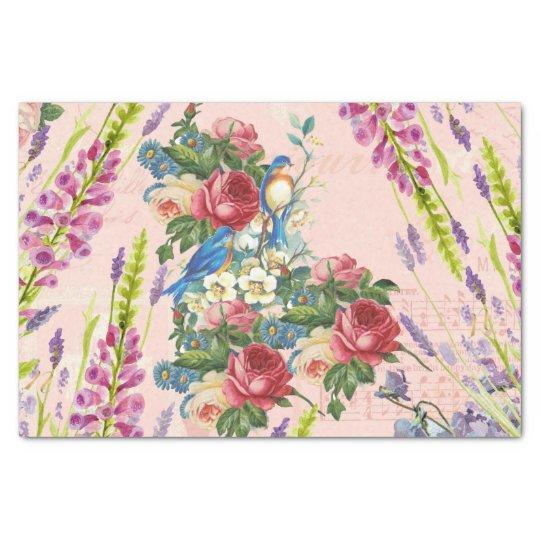 Vintage chic pink blue birds floral pattern tissue
