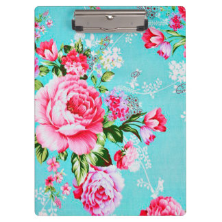 Vintage Chic Pink Floral Clipboard