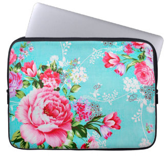 Vintage Chic Pink Floral Laptop Sleeve