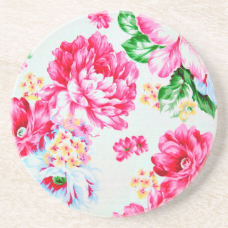 Vintage Chic Pink Flowers Floral Coaster