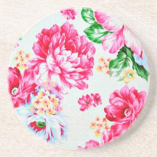 Vintage Chic Pink Flowers Floral Drink Coaster