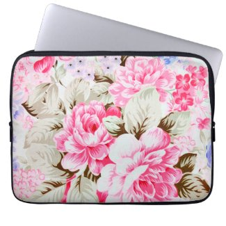 Vintage Chic Pink Flowers Floral Laptop Sleeve