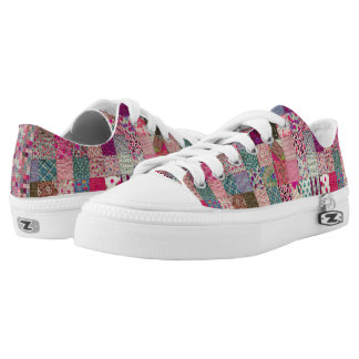 Vintage Chic Quilt  Low Toppers Printed Shoes