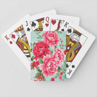 Vintage Chic Red Pink Floral Poker Cards