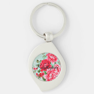 Vintage Chic Red Pink Floral Personalized Keychain Silver-Colored Swirl Key Ring