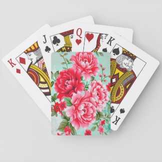 Vintage Chic Red Pink Floral Playing Cards