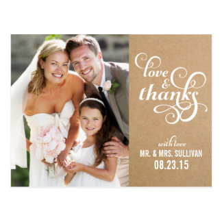 Vintage Chic Script Wedding Thank You Postcard