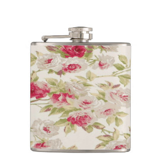 Vintage Chic  Shabby Girly Flowers Hip Flask