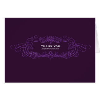 Vintage Chic Thank You Card in Dark Purple