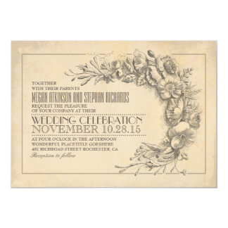 Vintage chic wedding invitation antique flourishes
