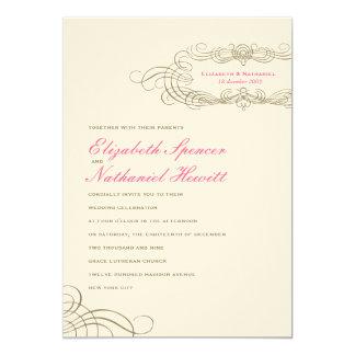 Vintage Chic Wedding Invitation in Pink
