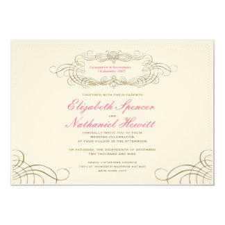 "Vintage Chic Wedding Invitation Landscape 2 5"" X 7"" Invitation Card"