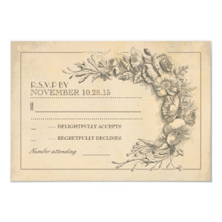 Vintage chic wedding RSVP with flowers Card