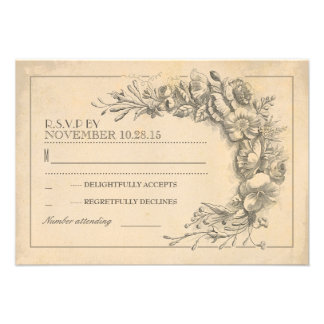 Vintage chic wedding RSVP with flowers Personalized Invite
