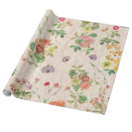 Vintage chic yellow pink cute floral pattern wrapping