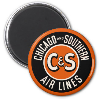 Vintage Chicago and Southern Air Lines Refrigerator Magnet