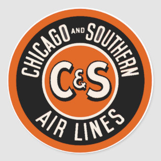 Vintage Chicago and Southern Air Lines Round Sticker
