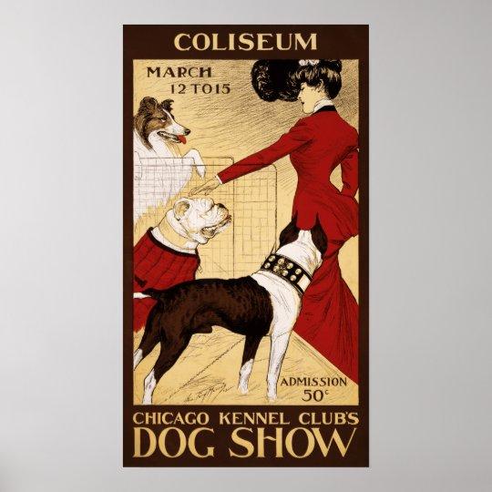 Vintage Chicago Dog Show Advertisement Poster
