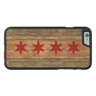 Vintage Chicago Flag Distressed Carved Maple iPhone 6 Case