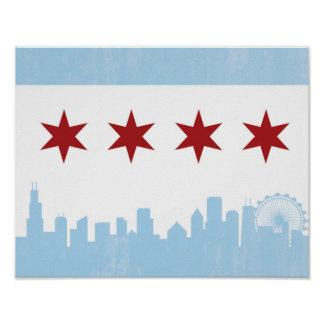 Vintage Chicago Flag Poster