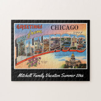 Vintage Chicago Illinois Postcard Family Souvenir Jigsaw Puzzle