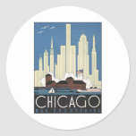 Vintage Chicago Illinois Round Sticker