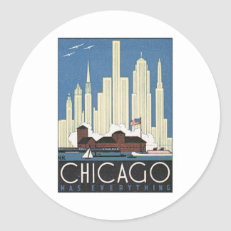 Vintage Chicago Illinois Round Sticker