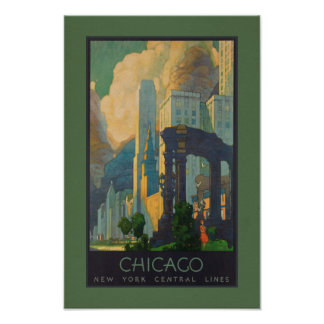 Vintage Chicago New York Central Lines Poster