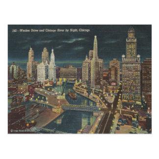 Vintage Chicago Night Skyline Postcard