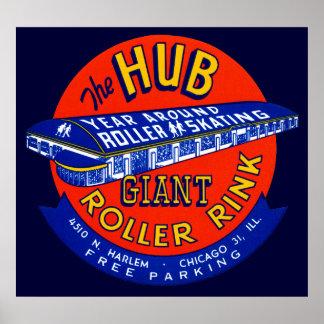 Vintage Chicago Roller Rink Poster