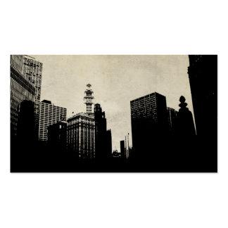 Vintage Chicago Skyline Artwork Business Card