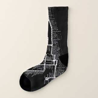 Vintage Chicago Subway Map w/ Train stops Chicago Socks