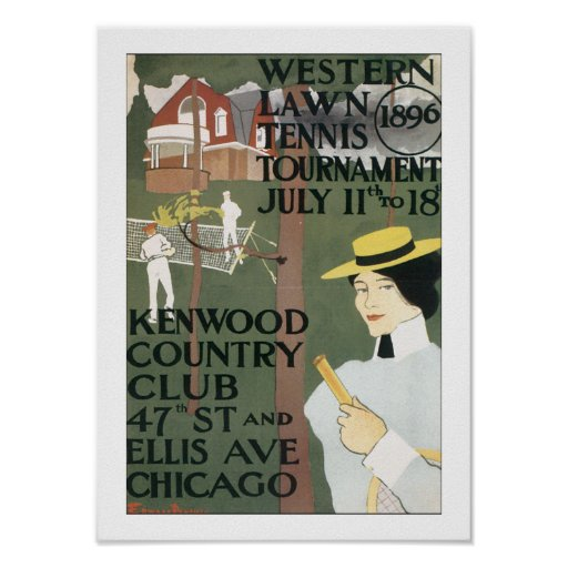 Vintage chicago tennis poster zazzle for Vintage chicago posters