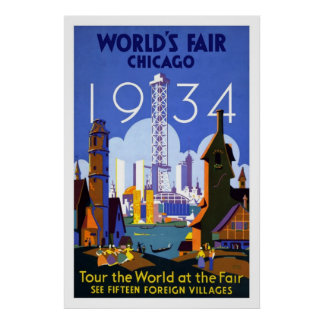 Vintage Chicago World's Fair 1934 Travel Poster