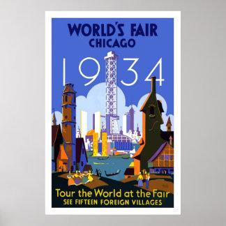 Vintage Chicago Worlds Fair Travel Poster 1934