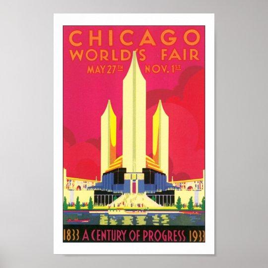 Vintage Chicago Worlds Fair Travel Print
