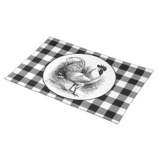 Vintage Chicken black white check placemat cloth