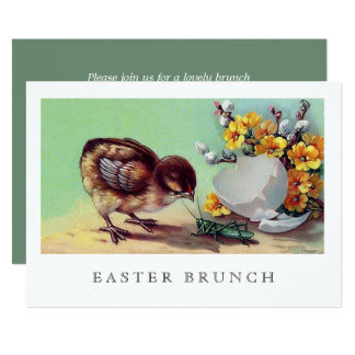 Vintage Chicken Custom Easter Brunch Invitations