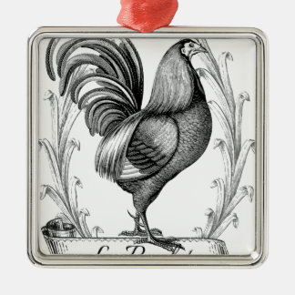 vintage chicken design typography christmas ornament