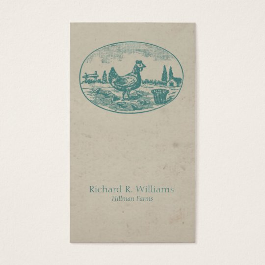 Vintage Chicken on Farm Business Card