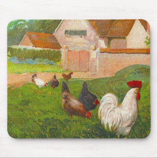 Vintage Chickens And Home Mouse Mat