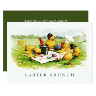 Vintage Chickens Custom Easter Brunch Invitations