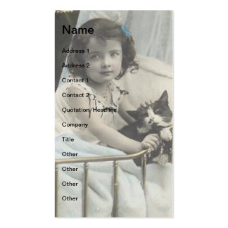 Vintage Child and Cat Double-Sided Standard Business Cards (Pack Of 100)